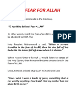 The Fear for Allah