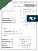 ecuaciones cuadrticas ejemplos resueltos por factorizacin - solucin