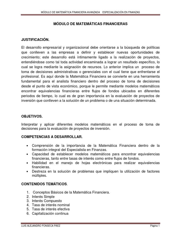 Asombroso Hojas De Trabajo De Matemáticas Financieras Elaboración ...