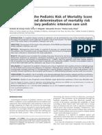Application of the Pediatric Risk of Mortality Score