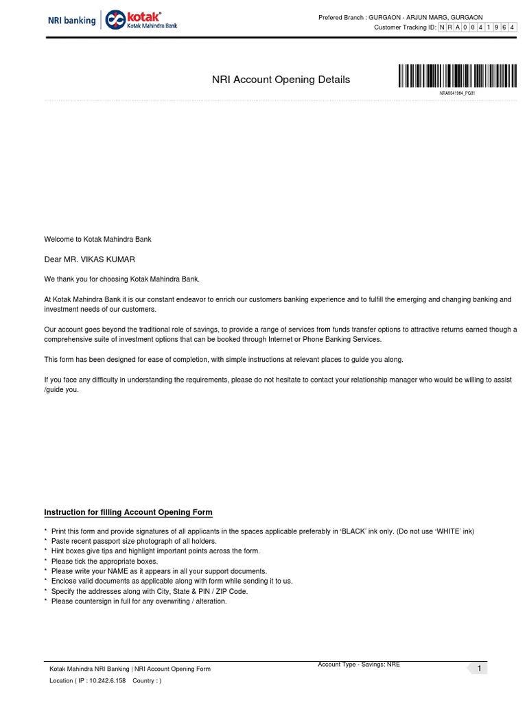 Kotak Mahindra Bank Statement Form Pdf