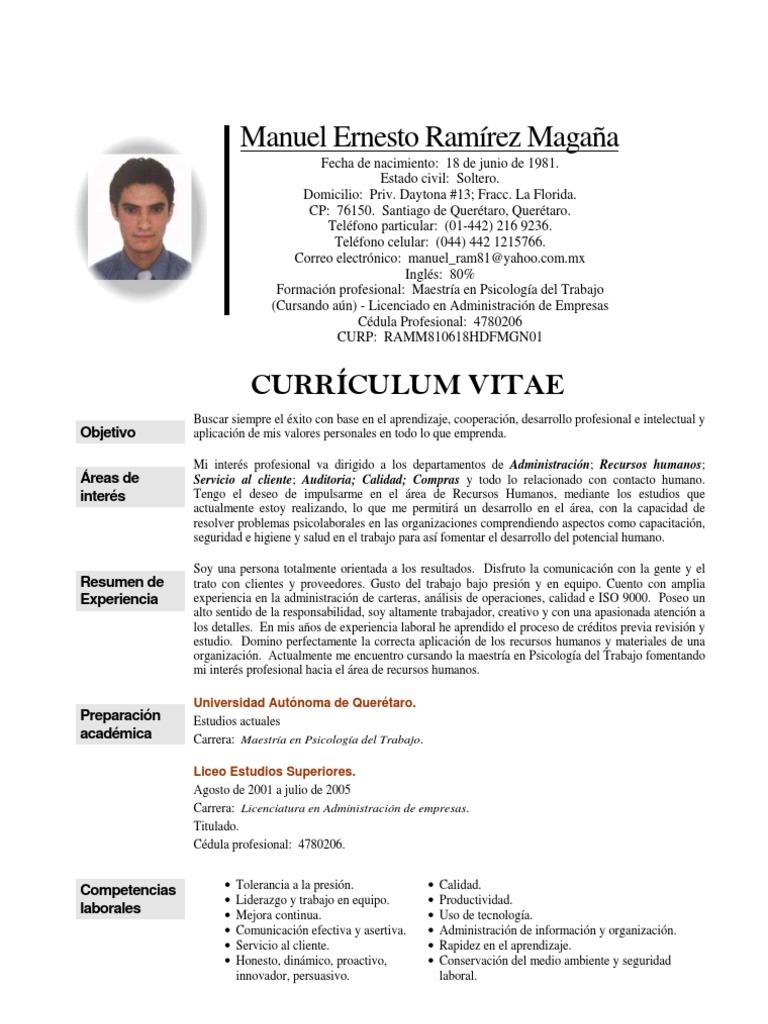 Currículum Vitae Manuel Ernesto