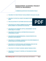 Download Social and Management Academic Project Topics and Materials