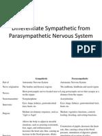 Differentiate Sympathetic From Parasympathetic Nervous System