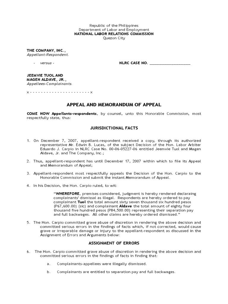 Nlrc Memorandum Of Appeal Legal Concepts Public Law
