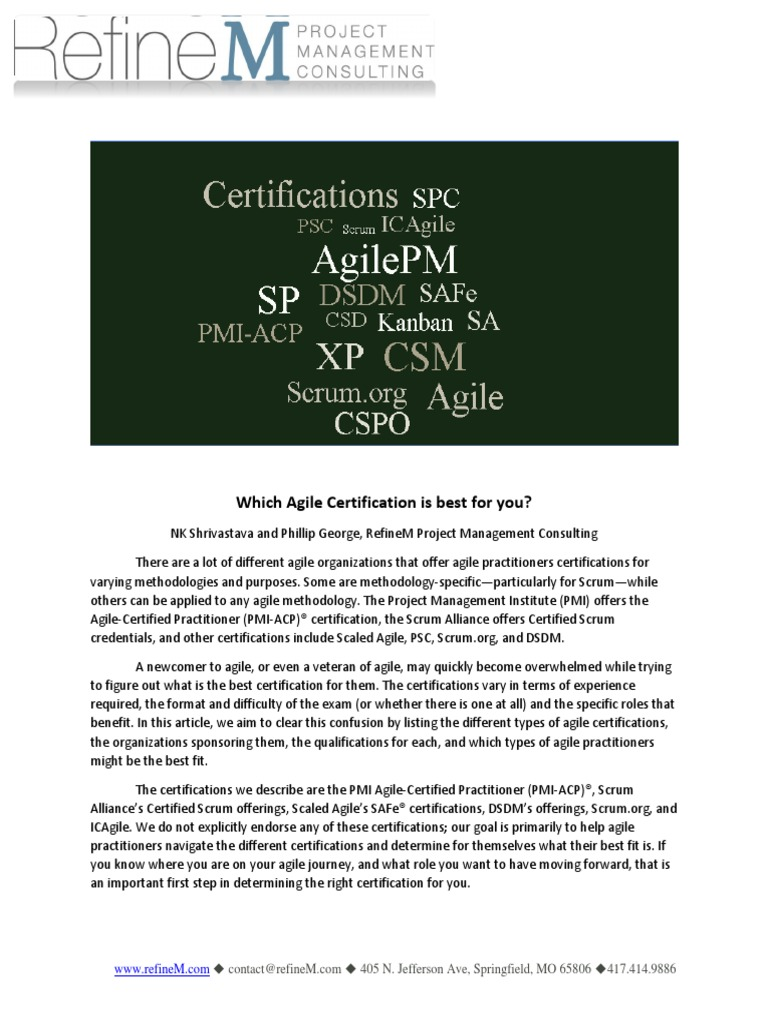 Which Agile Certification Is Best For You Agile Software