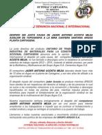 comunicacion a la empresa rechazo despido de jader acosto agosto 14 de 2014