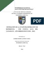 TESIS ESTIMACIÓN DE LA EVAPOTRANSPIRACIÓN DE REFERENCIA - SUB CUENCA ALTA DEL YANAMAYO - AÑO HIDROLÓGICO 2012 – 2013