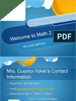 Math 2 Announcement
