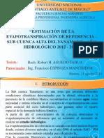 Presentación Tesis Evapotranspiración de referencia ETo