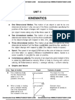 CBSE Class 11 Physics Questions for Chapter Kinematics