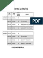 Landcruiser v8 Injector Listing - 01-2012