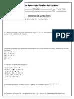 Lista 2 - Caje - 1 Ano - 2 Bimestre - Função Do 2 Grau.