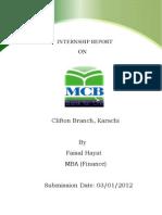 77426284 MCB Internship Report by Faisal Hayat