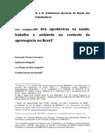 Os Impactos Dos Agrotóxicos Na Saúde Trabalho e Ambiente No Contexto Do Agronegócio No Brasil