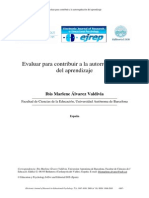 Álvarez (2009), Evaluar Para Contribuir Al Aprendizaje Autorregulado.