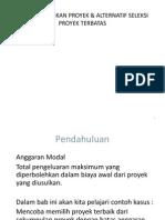 membandingkan Proyek & Alternatif Seleksi Proyek Terbatas