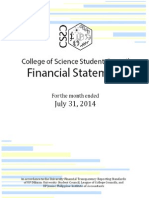 UP CSSC Financial Statement for the Month Ended July 31 2014