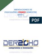 Primer Semestre - Recomendaciones de Profesores 2015-1
