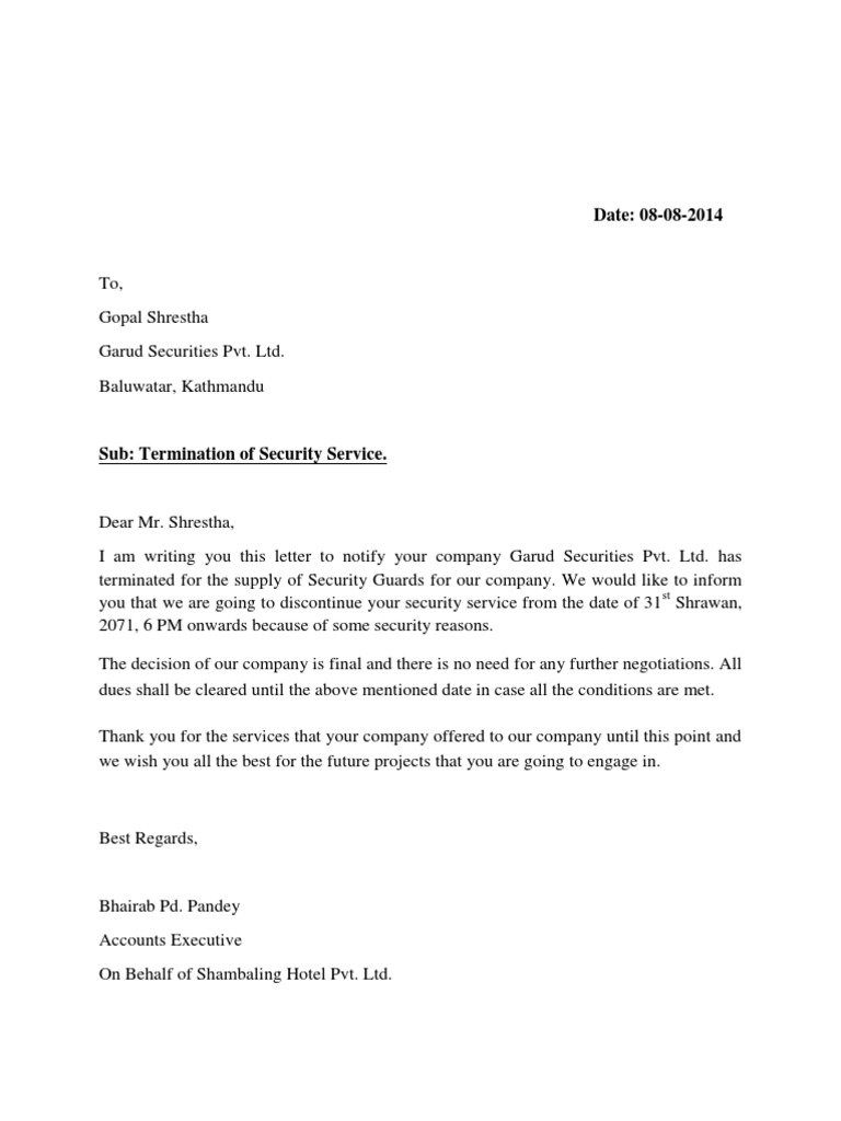 Sample Letter To Discontinue Service from imgv2-2-f.scribdassets.com