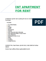 Student Apartment for Rent - Ad 1