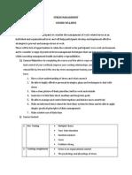 Stress Management Course Syllabus