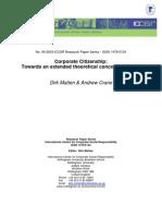 Corporate Citizenship, by Dirk Matten & Andrew Crane