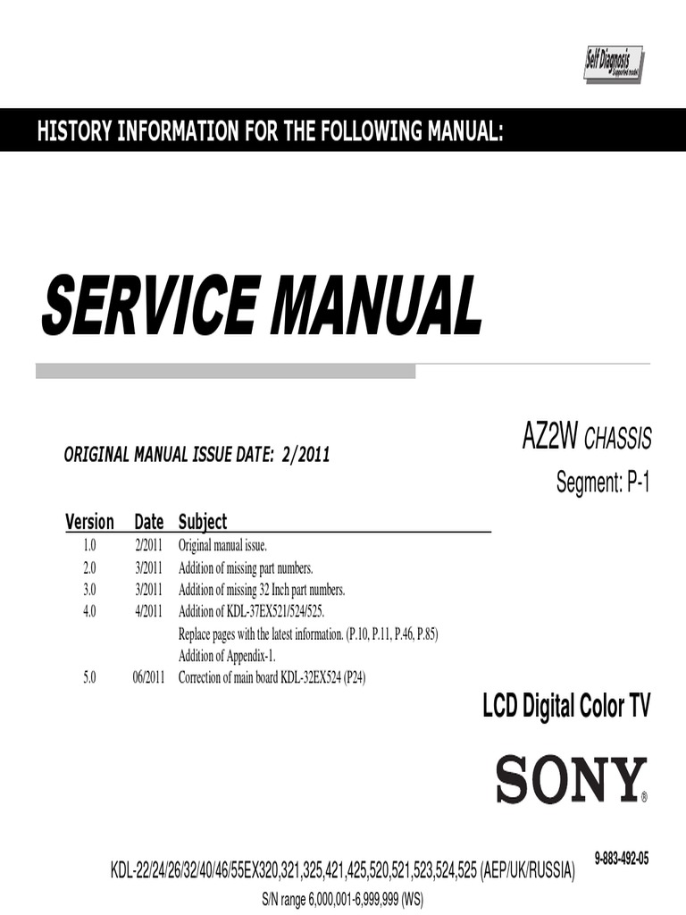 Sony KDL-32EX523 Service Manual | Computer Network | Electrical Engineering