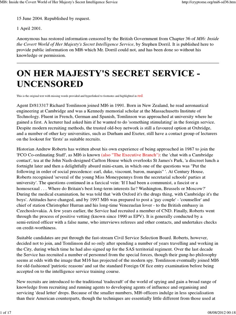 MI6_ Inside the Covert World of Her Majesty's Secret Intelligence Service | Secret  Intelligence Service | Espionage