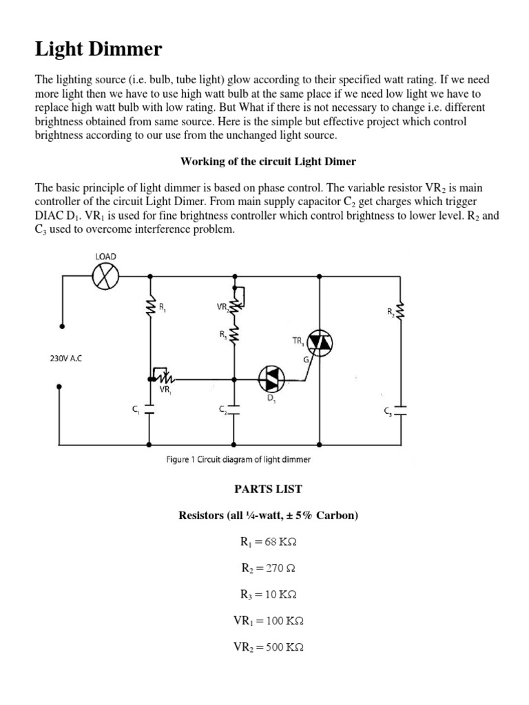 Light Dimmer Resistor Capacitor Variable Circuit Diagram Components