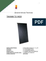 Características Técnicas del Colector Solar Takama T2 Inox cc 2004