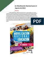 Caracterización Movilización Nacional  Jueves 21 de Agosto de 2014
