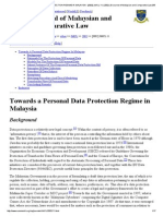 Towards a Personal Data Protection Regime in Malaysia - [2002] Jmcl 11; (2002) 29 Journal of Malaysian and Comparative Law 255