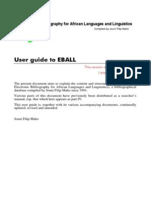 e Ball Guide | Bibliography | Libraries
