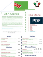 Patsa and Pizza Menu