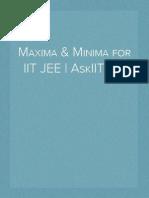 Maxima & Minima for IIT JEE | AskIITians