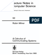 Robin Milner a Calculus of Communicating Systems 1980