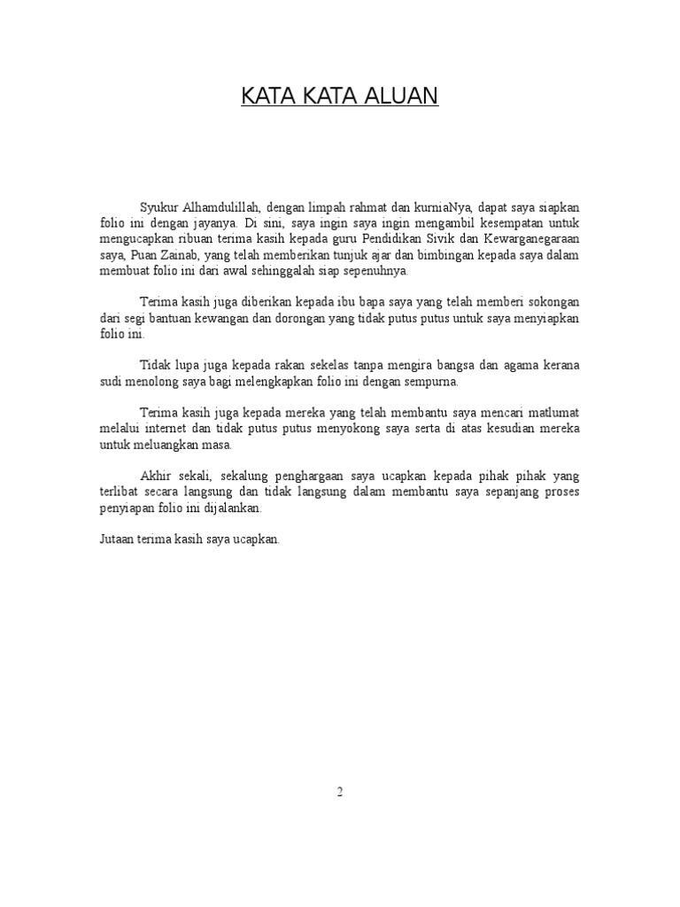Contoh Kata Kata Aluan Untuk Folio