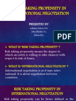 Risk Taking Propensity in International Negotiation