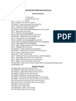 Microsoft Word 2003 Keyboard Shortcuts