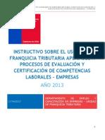 Instructivo Empresas FT Evaluación y Certificación de Competencias Laborales 2013