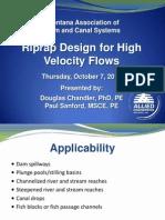 Riprap Design for High Velocity Flows