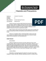 Phenol Hazards and Precautions