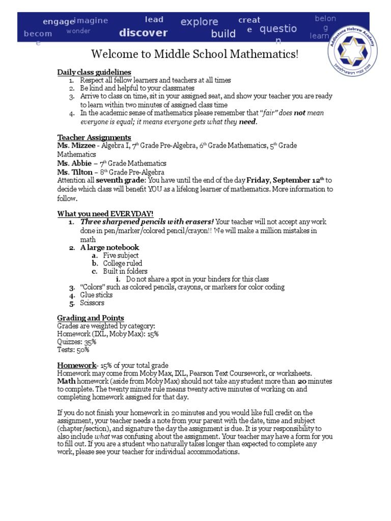 syllabus for middle school math | Educational Psychology | Education ...