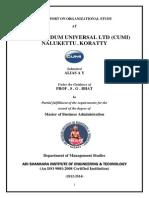 A REPORT ON ORGANIZATIONAL STUDY AT CARBORUNDUM UNIVERSAL LTD (CUMI) NALUKETTU , KORATTY