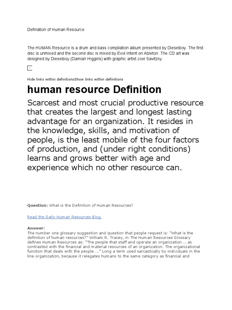the human resource is a drum and bass compilation album presented by
