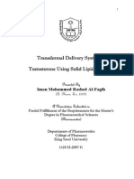 Transdermal Delivery System of Testosterone Using Solid Lipid Particles