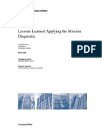 Lessons Learned Applying the Mission Diagnostic