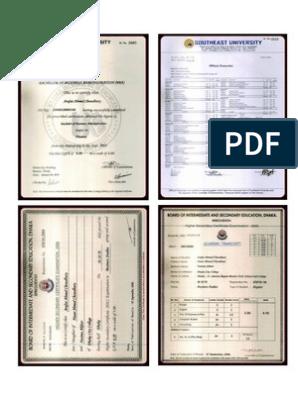 Certificate & Mark Sheet of S S C , H S C , B B a  (2003 Ver)