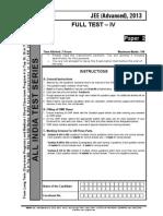 Fulltest IV Advanced Paper 2 Question Paper Aits 2013 Jeea Ft IV Paper 2